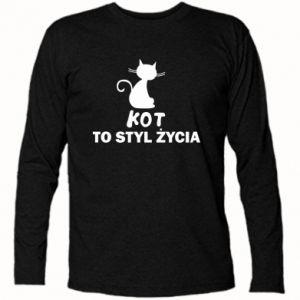 Koszulka z długim rękawem Kot to styl życia