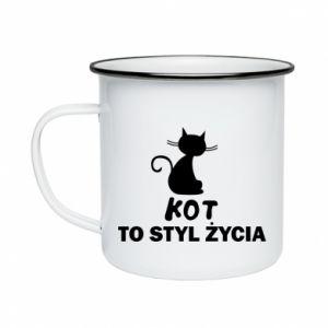 Kubek emaliowane Kot to styl życia
