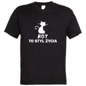 Men's V-neck t-shirt A cat is a lifestyle
