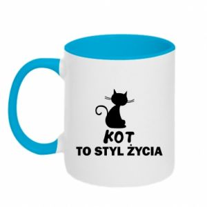 Two-toned mug A cat is a lifestyle