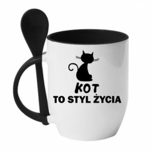 Mug with ceramic spoon A cat is a lifestyle