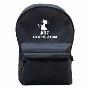 Plecak z przednią kieszenią Kot to styl życia