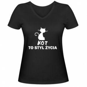 Damska koszulka V-neck Kot to styl życia