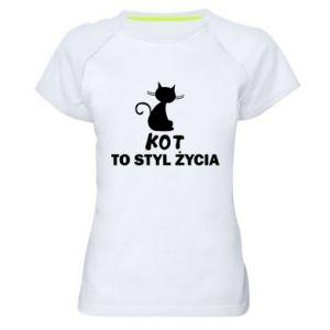 Koszulka sportowa damska Kot to styl życia