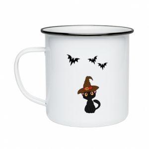 Enameled mug Cat in a hat - PrintSalon