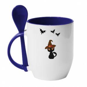 Mug with ceramic spoon Cat in a hat - PrintSalon