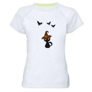 Women's sports t-shirt Cat in a hat - PrintSalon