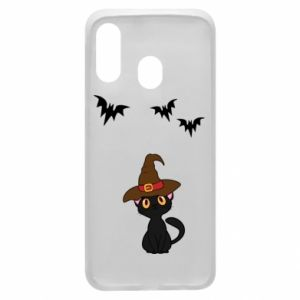 Phone case for Samsung A40 Cat in a hat - PrintSalon