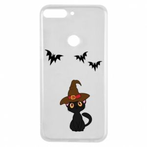 Phone case for Huawei Y7 Prime 2018 Cat in a hat - PrintSalon