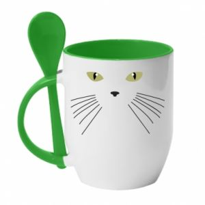 Kubek z ceramiczną łyżeczką Mordka koteka