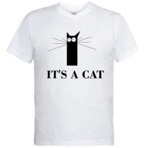 Męska koszulka V-neck It's a cat