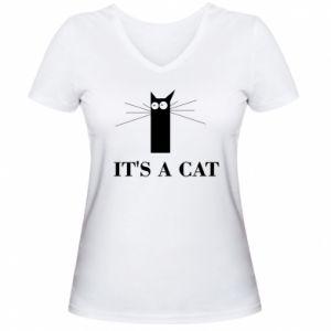 Damska koszulka V-neck It's a cat