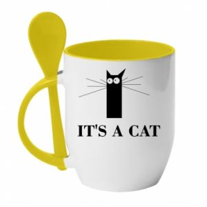 Mug with ceramic spoon It's a cat