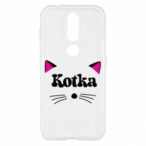 Etui na Nokia 4.2 Kotka z różowymi uszkami