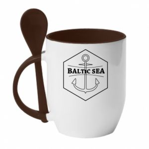 Mug with ceramic spoon Baltic Sea