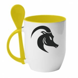 Mug with ceramic spoon Capricorn - PrintSalon