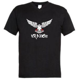 Męska koszulka V-neck Krakow eagle black ang red