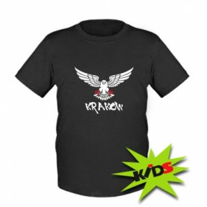 Kids T-shirt Krakow eagle black ang red