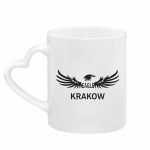 Kubek z uchwytem w kształcie serca Krakow eagle black or white