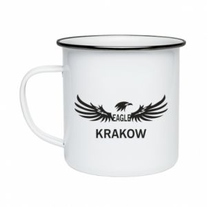 Kubek emaliowane Krakow eagle black or white