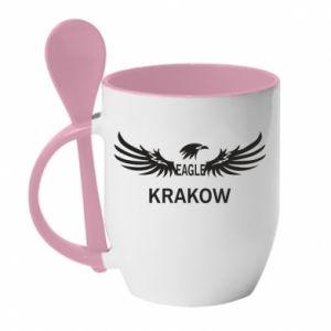 Kubek z ceramiczną łyżeczką Krakow eagle black or white