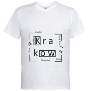 Męska koszulka V-neck Kraków i inne miasta