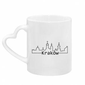 Mug with heart shaped handle City Krakow