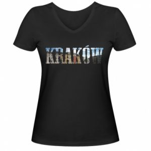Damska koszulka V-neck Kraków - PrintSalon