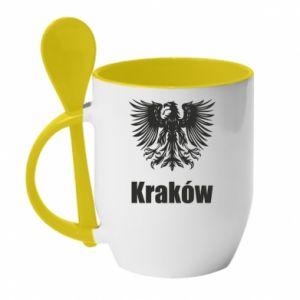 Kubek z ceramiczną łyżeczką Kraków - PrintSalon