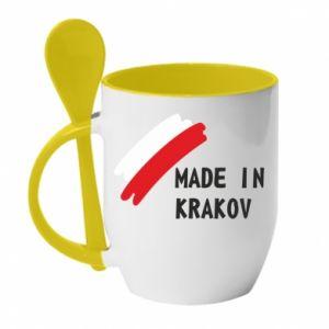 Kubek z ceramiczną łyżeczką Made in Krakow - PrintSalon