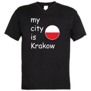 Męska koszulka V-neck My city is Krakow - PrintSalon