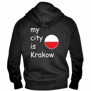 Męska bluza z kapturem na zamek My city is Krakow - PrintSalon