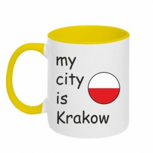 Kubek dwukolorowy My city is Krakow - PrintSalon