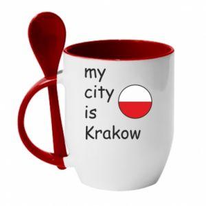 Kubek z ceramiczną łyżeczką My city is Krakow - PrintSalon