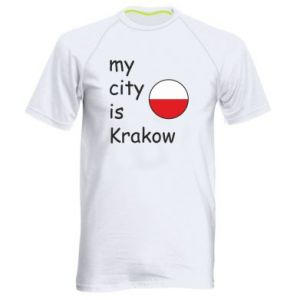 Męska koszulka sportowa My city is Krakow