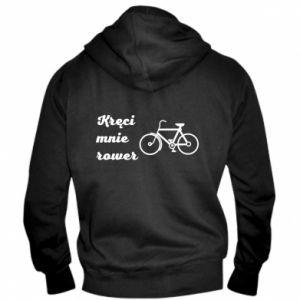 Męska bluza z kapturem na zamek Kręci mnie rower!