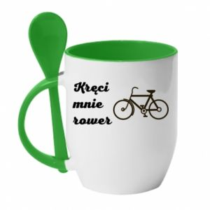 Kubek z ceramiczną łyżeczką Kręci mnie rower!