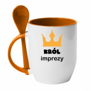 Mug with ceramic spoon Party king