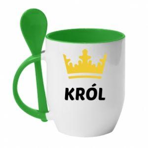 Kubek z ceramiczną łyżeczką Król - PrintSalon