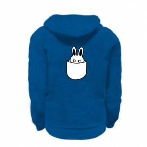 Kid's zipped hoodie % print% Bunny in the pocket