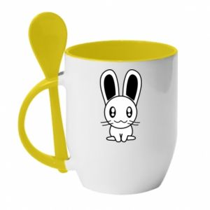 Mug with ceramic spoon Little Bunny