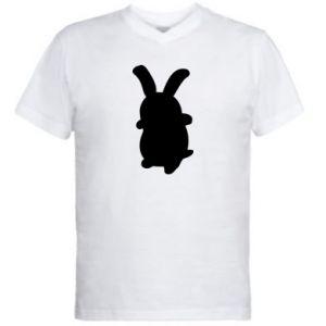 Men's V-neck t-shirt Smiling Bunny