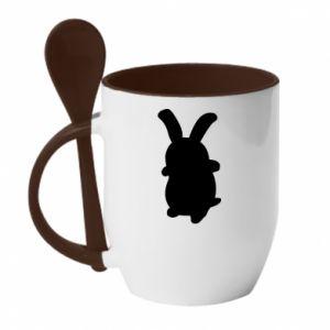 Mug with ceramic spoon Smiling Bunny