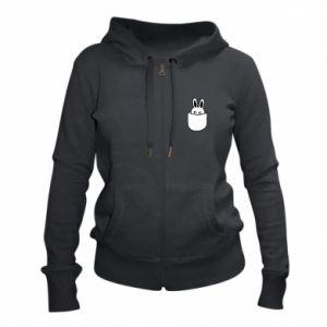 Women's zip up hoodies Bunny in the pocket