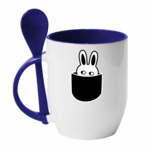 Mug with ceramic spoon Bunny in the pocket
