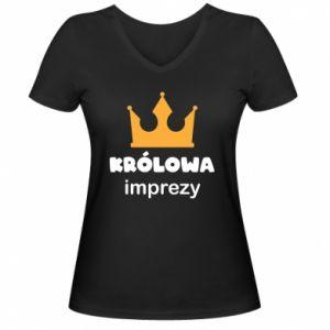 Women's V-neck t-shirt Queen of the party - PrintSalon