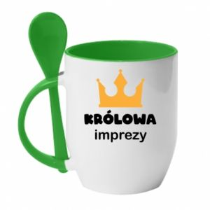 Mug with ceramic spoon Queen of the party - PrintSalon