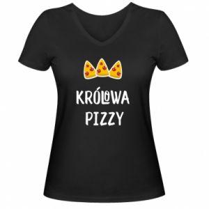 Damska koszulka V-neck Królowa pizzy