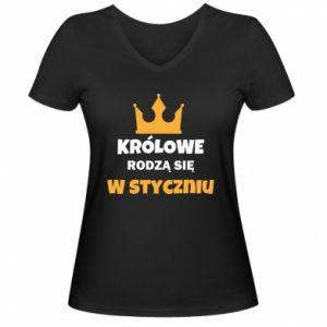 Damska koszulka V-neck Królowe rodzą się w styczniu