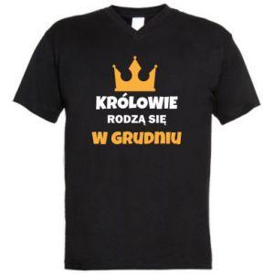 Męska koszulka V-neck Królowie rodzą się w grudniu
